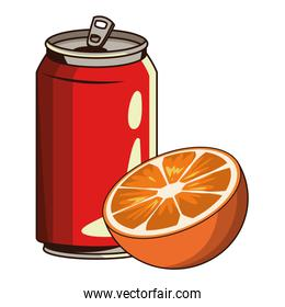 soda can and orange