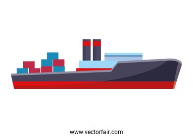 Cargo ship with container boxes isolated