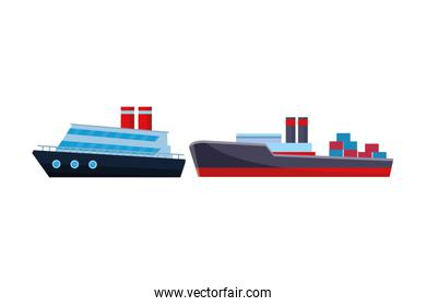 Cargo ship with container boxes and cruiseship