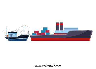 Cargo ship with container boxes and fishing boat