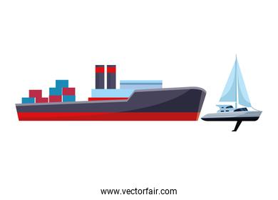 Cargo ship with container boxes and sailboat
