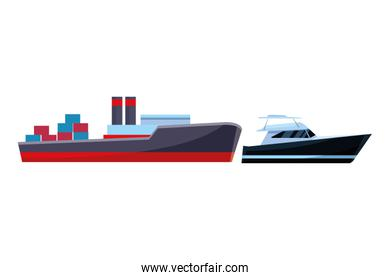 Cargo ship with container boxes and yatch