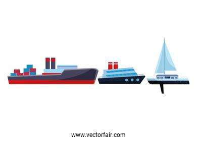 Cargo ship with container boxes cruiseship and sailboat