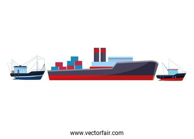 Cargo ship with container boxes and fisher boats