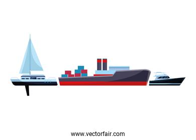 Cargo ship with container boxes sailboat and yatch