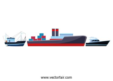 Cargo ship with container boxes fisher boat and yatch
