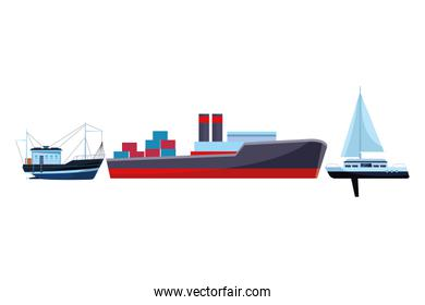 Cargo ship with container boxes fishing boat and sailboat