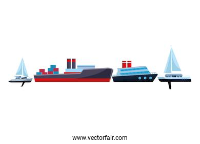 Cargo ship with container boxes cruiseship and sailboats