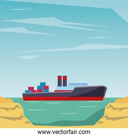 Cargo ship with container boxes peninsula shore background