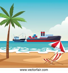 Cargo ship with container boxes and fishing boat beach shore background