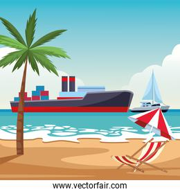 Cargo ship with container boxes and sailboat beach shore background