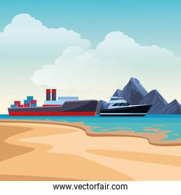 Cargo ship with container boxes and yatch beach shore background