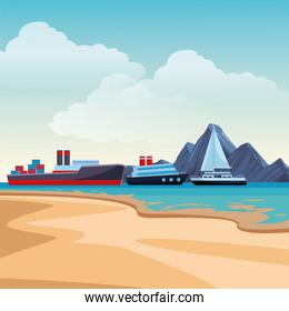 Cargo ship with container boxes cruiseship and sailboat beach shore background