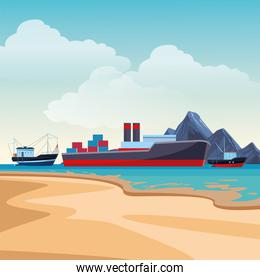 Cargo ship with container boxes and fisher boats beach shore background