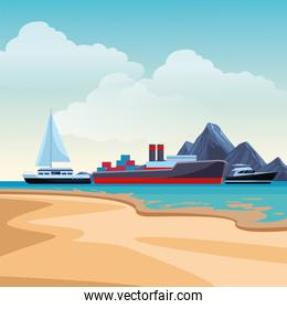 Cargo ship with container boxes sailboat and yatch beach shore background