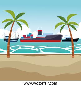 Cargo ship with container boxes fisher boat and yatch palm trees background