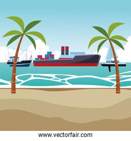 Cargo ship with container boxes fishing boat and sailboat palm trees background