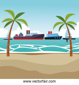 Cargo ship with container boxes cruiseship and sailboats palm trees background