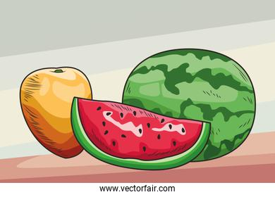Fresh fruit nutrition healthy background
