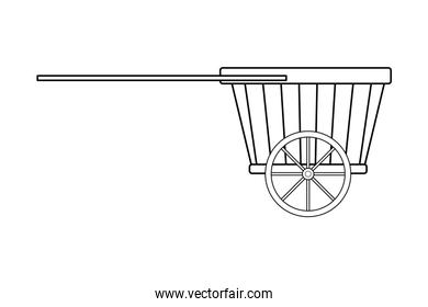 Flower wooden cart with handles black and white