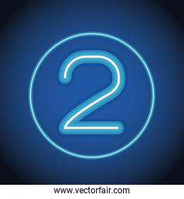 two font number neon