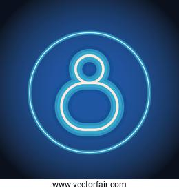 eight font number neon