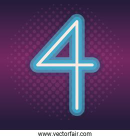 four font number neon