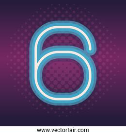 six font number neon