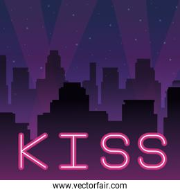 kiss neon advertising