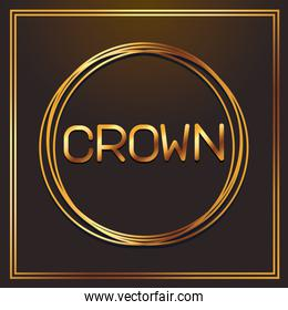 crown gold fonts in round frame