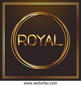 royal gold fonts in round frame