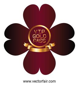 VIP gold pass font with ribbon