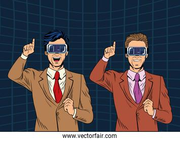 men with virtual reality headset