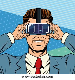 man with virtual reality headset