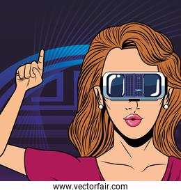 woman with virtual reality headset