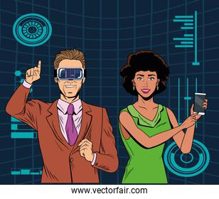 couple with virtual reality headset