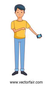 Young man with smartphone cartoon