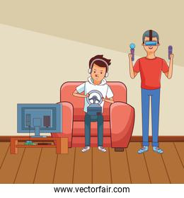 Millennials and videogames cartoons in black and white