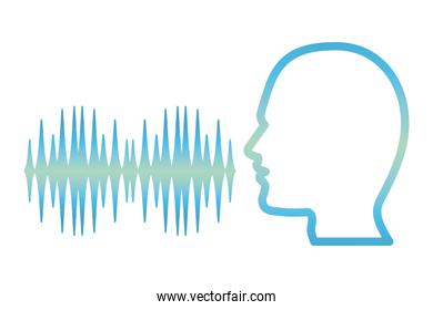 human head silhouette with sound signal