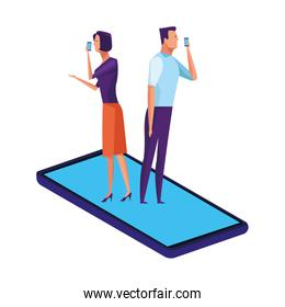 couple over a cellphone isolated icon