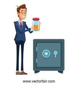 businessman holding a glass jar with money and safe box
