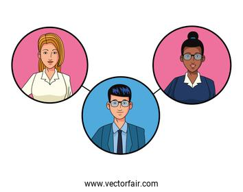 group of business people avatar profile picture in round icon