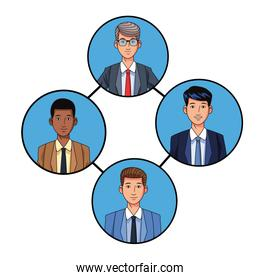 group of businessmen avatar profile picture in round icon