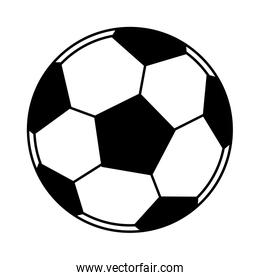 soccer balloon icon cartoon isolated black and white