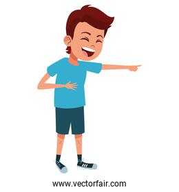 boy laughing and pointing out