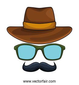 hat glasses and moustache