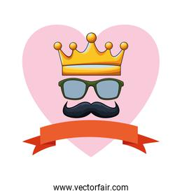 crown glasses and moustache icon cartoon