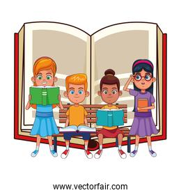 young kids with books on a bench