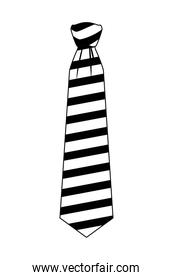 striped tie icon cartoon isolated black and white