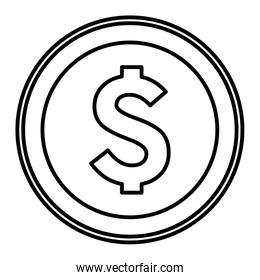 big coin icon cartoon isolated black and white